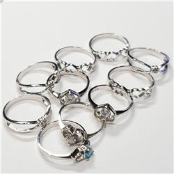 SILVER LOT OF 10 RINGS