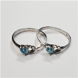 SILVER LOTS OF 2 BLUE TOPAZ  RING