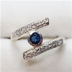 SILVER CREATED SAPPHIRE RING
