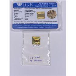 NATURAL DIAMOND, CHAMPAGNE COLOR 0.015CT, 1.5MM, CLARITY SI3-I1, BRILLIANT ROUND CUT