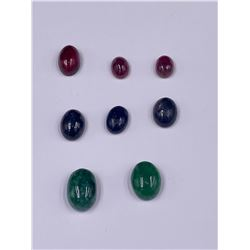 CABOCHONS READY TO BE SET IN JEWELRY; SAPPHIRE 28.05CT, EMERALD 21.90CT, RUBY 25.55CT