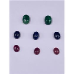 CABOCHONS READY TO BE SET IN JEWELRY; SAPPHIRE 24.95CT, EMERALD 21.20CT, RUBY 13.90CT