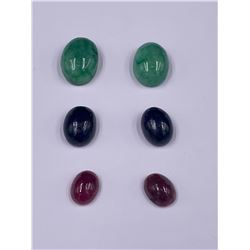 CABOCHONS READY TO BE SET IN JEWELRY; SAPPHIRE 23.50CT, EMERALD 29.10CT, RUBY 10.85CT