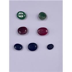 READY TO BE SET IN JEWELRY; SAPPHIRE 17.45CT, EMERALD 15.00CT, RUBY 22.20CT