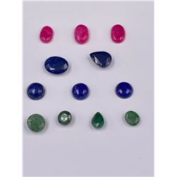 CUT GEMSTONES READY TO BE SET IN JEWELRY; SAPPHIRE 30.95CT, RUBY 21.35CT, EMERALD 20.95CT, LAPIS