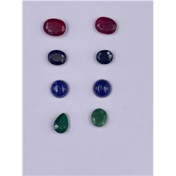 READY TO BE SET IN JEWELRY; SAPPHIRE 14CT, RUBY 22.75CT, EMERALD 11.05CT, LAPIS