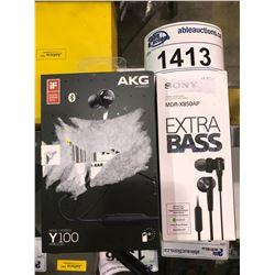 2 HEADPHONES (UNTESTED) AKG BY HARMAN Y100 WIRELESS HEADPHONES & SONY EXTRA BASS MDR-XB50AP