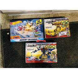 3 NEW IN BOX TOY: HOT WHEELS 24 DAYS ADVENT CALENDAR & 2 KRE-O TRANSFORMERS