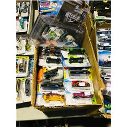 BOX OF ASSORTED NEW IN PACKAGING TOY CARS (HOTWHEELS, GREENLIGHT)