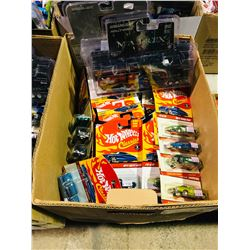 BOX OF ASSORTED NEW IN PACKAGING TOY CARS (HOT WHEELS, GREENLIGHT)