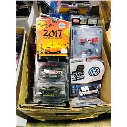 BOX OF ASSORTED NEW IN PACKAGING TOY CARS (GREENLIGHT, M2, HOT WHEELS)