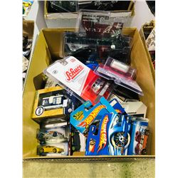 BOX OF ASSORTED NEW IN PACKAGING TOY CARS (GREENLIGHT, HOT WHEELS)