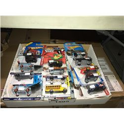 BOX OF ASSORTED NEW IN PACKAGING TOY CARS (HOT WHEELS)