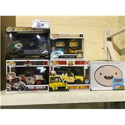 4 NEW IN BOX FUNKO POPS (BATMAN, JURASSIC PARK, TOY STORY, & SUPER HEROES) & ADVENTURE TIME GIFT