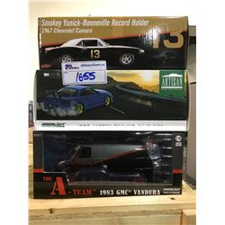 3 NEW IN BOX MODEL CARS: 1999 SKYLINE GT-R R34, 1983 VANDURA (A-TEAM), & 1967 CAMARO