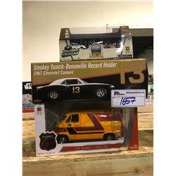 3 NEW IN BOX MODEL CARS: 1967 CAMARO, 1976 G-SERIES VAN, CAMPSITE SET