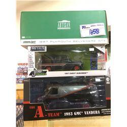 "3 NEW IN BOX MODEL CARS"" 1983 VANDURA (A-TEAM), 1957 SUBURBAN, 1968 BELVEDERE GTX"