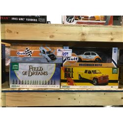 4 NEW IN BOX MODEL CARS: BEETLE, PUSSY WAGON (KILL BILL) 1973 TYPE 2, 1967 MUSTANG COUPE