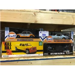 4 NEW IN BOX MODEL CARS: BEETLE, PUSSY WAGON (KILL BILL) 1973 FALCON XB, 1967 MUSTANG COUPE
