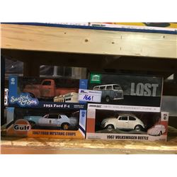 4 NEW IN BOX MODEL CARS: 1971 TYPE 2 (LOST), 1967 BEETLE, 1967 MUSTANG COUPE, 1952 F-1 (SANFORD &