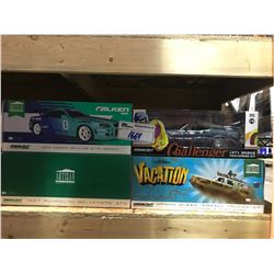 4 NEW IN BOX MODEL CARS: 1999 SKYLINE GT-R, 1971 CHALLENGER R/T, WAGON QUEEN FAMILY TRUCKSTER, 1967