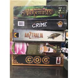6 NEW IN PACKAGING GAMES: HIGH SOCIETY, CHRONICLES OF CRIME, COG, & MORE