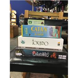 4 NEW IN BOX GAMES: CATAN JUNIOR, FORTRESS, TOKAIDO, CATACOMBS