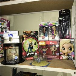 9 NEW IN PACKAGING TOYS/COLLECTIBLES: MIRACULOUS, MULAN, RAPUNZEL, PRESTO, & MORE