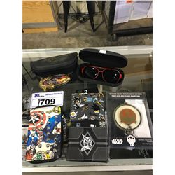 ASSORTED PRODUCTS NEW WITH TAGS: DEADPOOL GLASSES, FRANKLIN MINT KNIFE, ASSORTED WALLETS, &