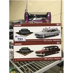 3 NEW IN BOX MODEL CARS: 1959 CADILLAC AMBULANCE, 1966 CADILLAC LIMOUSINE, BACK TO THE FUTURE TIME