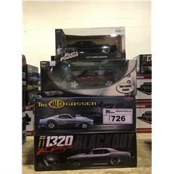 4 NEW IN BOX MODEL CARS: 1320 KINGS, MALCO GASSER, HOT WHEELS MINI COOPER, LETTY'S PLYMOUTH