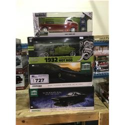 4 NEW IN BOX MODEL CARS: 1970 CHARGER, 1999 SKYLINE GT-R, 1932 CUSTOM FORD HOT ROD, 1947 COE