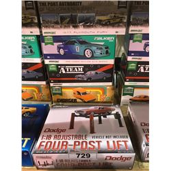4 NEW IN BOX MODEL CARS & FOUR-POST LIFT: 1977 PLYMOUTH, 1999 SKYLINE GT-R, 1967 IMPALA (A-TEAM),