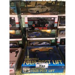 4 NEW IN BOX MODEL CARS & FOUR-POST LIFT: 1977 FURY, 1932 CUSTOM HOT ROD, 1999 SKYLINE GT-R,