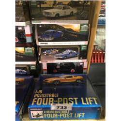 4 NEW IN BOX MODEL CARS & FOUR-POST LIFT: 1977 FURY, 1999 SKYLINE GT-R, 1975 FURY POLICE CRUISER,
