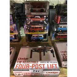 4 NEW IN BOX MODEL CARS & FOUR POST LIFT: (1971 TYPE 2 (LOST), 1973 TYPE 2, 1958 FURY, 1972 240Z