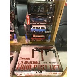 4 NEW IN BOX MODEL CARS & FOUR POST LIFT: (1971 TYPE 2 (LOST), 1973 TYPE 2, CUSTOM 1969 CHARGER