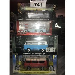 4 NEW IN BOX MODEL CARS: 1981 AIRSTREAM EXCELLA TURBO 280, 1970 240Z, 1971 TYPE 2 (LOST), 1973 TYPE
