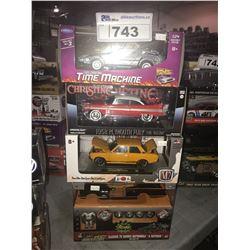 4 NEW IN BOX MODEL CARS: DELOREAN TIME MACHINE, 1958 FURY, 1970 DATSUN 510, HOLLYWOOD RIDES BATMAN