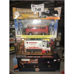 5 NEW IN BOX MODEL/TOY CARS: 1975 TAXI, 1973 BRONCO, 1973 TYPE 2, DEADPOOL TACO TRUCK, GULF