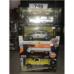 4 NEW IN BOX MODEL CARS: 1981 AIRSTREAM EXCELLA TURBO 280, MOON BEETLE, TYPE 2 VAN, 1968 F-100