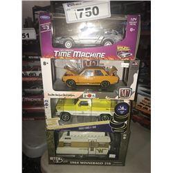 4 NEW IN BOX MODEL CARS: DELOREAN TIME MACHINE, 1970 DATSUN 510, 1968 F-100, 1964 WINNEBAGO 216