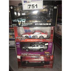 4 NEW IN BOX MODEL CARS: 1973 FALCON XB, 1970 DATSUN 240Z, DELOREAN TIME MACHINE, 1976 GRAN TORINO