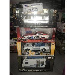 4 NEW IN BOX MODEL CARS: 1981 AIRSTREAM EXCELLA TURBO 280, 197 DATSUN 240Z, 1967 CAMARO, 1964