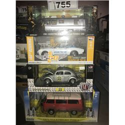 4 NEW IN BOX MODEL CARS: 1981 AIRSTREAM EXCELLA TURBO 280, 1967 CAMARO, MOON 1952 BEETLE, 1973 TYPE