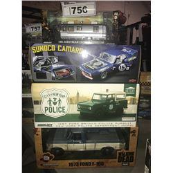 4 NEW IN BOX MODEL CARS: 1981 AIRSTREAM EXELLA TURBO 280, SUNOCO CAMARO, 1967 BRONCO POLICE