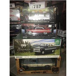 4 NEW IN BOX MODEL CARS: 1981 AIRSTREAM EXCELLA TURBO 280, 19548 FURY, 1976 BRONCO EXPLORER, 1973