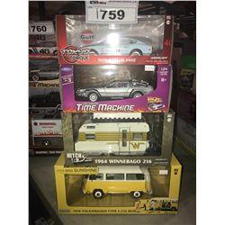 4 NEW IN BOX MODEL CARS: 1970 240Z, DELOREAN TIME MACHINE, 1964 WINNEBAGO 216, 1978 TYPE 2 (MISS