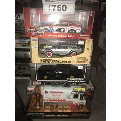 4 NEW IN BOX MODEL CARS: 1970 240Z, DELOREAN TIME MACHINE, 1973 FIREBIRD, DEADPOOLS TACO TRUCK