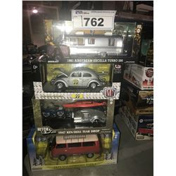 4 NEW IN BOX MODEL CARS: 1981 AIRSTREAM EXCELLA TURBO 280, MOON 1952 BEETLE, 1947 KEN-SKILL TEAR